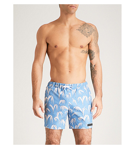 SANDRO Palm-print swim shorts (Blue