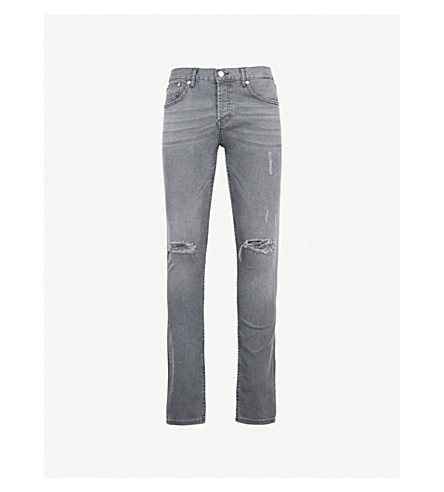 SANDRO Ripped slim-fit skinny jeans (Gris