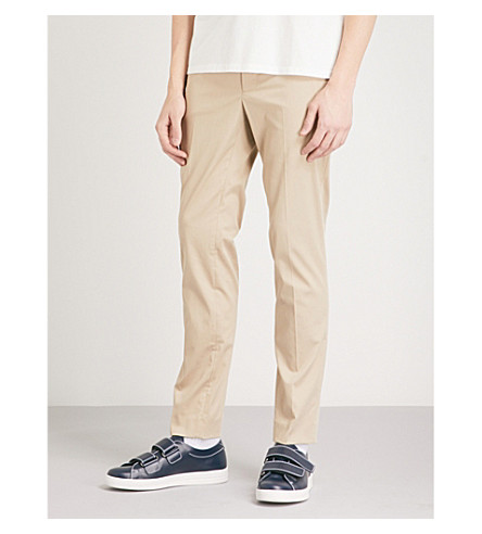SANDRO Regular-fit tapered cotton-blend trousers (Beige