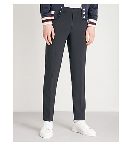 SANDRO Jupiter wool-blend rib trim trousers (Marine