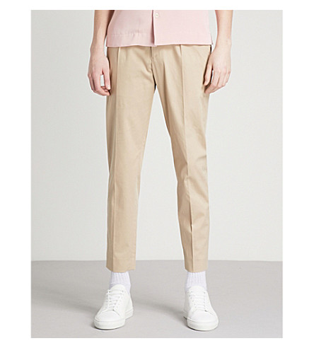 SANDRO Slim-fit skinny stretch-cotton trousers (Beige