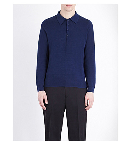 SANDRO Textured cotton and silk-blend polo jumper (Blue