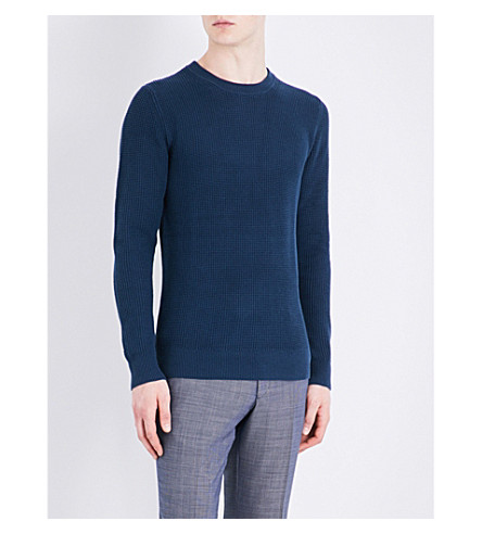 SANDRO Waffle-knit pure-cotton sweatshirt (Peacock+blue