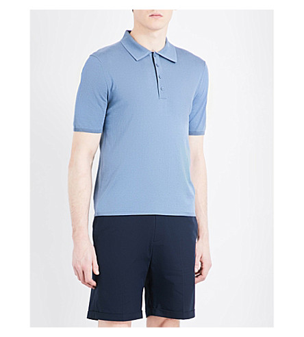 SANDRO Spread-collar silk and cotton-blend polo shirt (Steel+blue