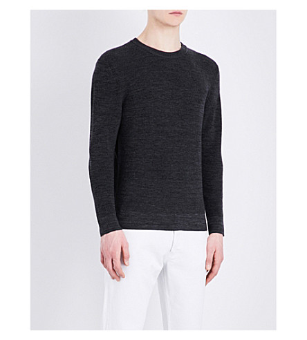 SANDRO Crewneck merino wool jumper (Charcoal+grey