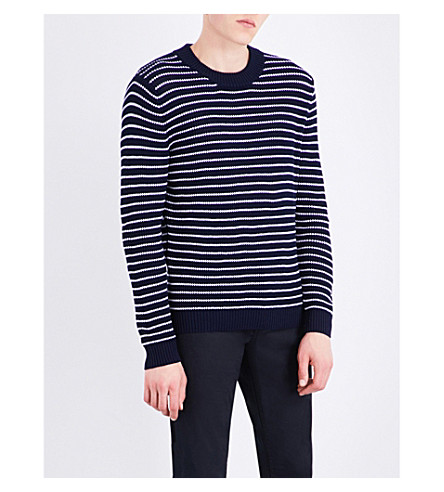 SANDRO Striped knitted cotton jumper (Navy+blue