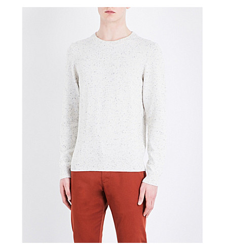 SANDRO Peppered cotton-blend jumper (Ecru