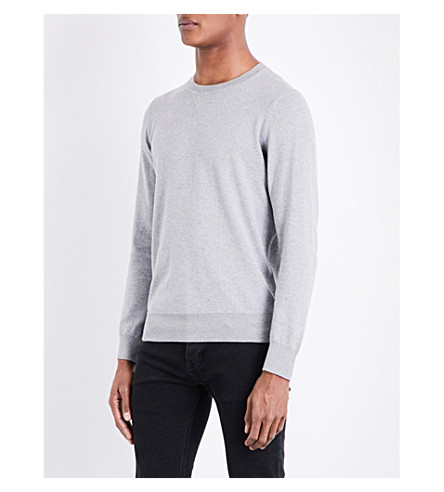 SANDRO Crewneck cotton and wool-blend jumper (Light+grey