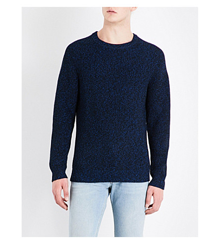 SANDRO Crewneck wool-blend jumper (Blue