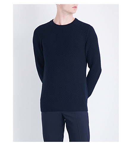 SANDRO Textured cotton and wool-blend jumper (Navy+blue