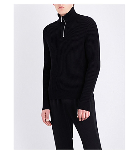 SANDRO High-necked cotton-knitted jumper (Black