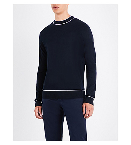 SANDRO Crewneck wool jumper (Navy+blue