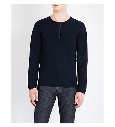 SANDRO Leather-trim wool jumper (Navy+blue