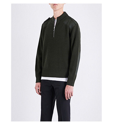 SANDRO Half-zip wool-blend jumper (Olive+green