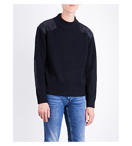 SANDRO Contrast-patch ribbed wool-blend jumper (Navy+blue
