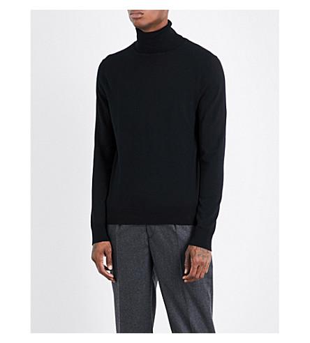 SANDRO Turtleneck fine-knit wool jumper (Black
