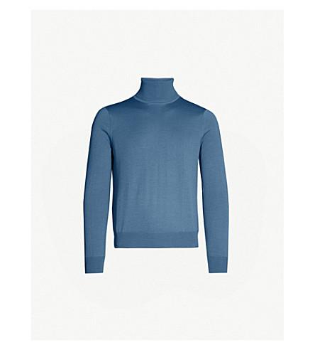 SANDRO Turtleneck fine-knit wool jumper (Bleu+acier