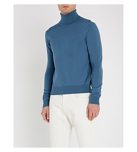 SANDRO Turtleneck fine-knit wool jumper (Bleu+acier