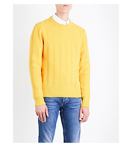 SANDRO Drop-shoulder ribbed wool jumper (Yellow