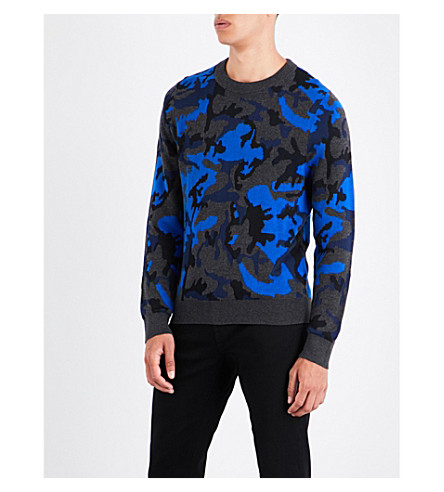 SANDRO Camouflage-patterned knitted jumper (Electric+blue