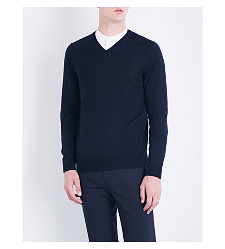 SANDRO V-neck close-knit wool jumper (Navy+blue