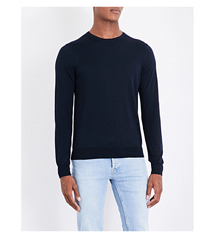 SANDRO Fine-knit wool jumper (Navy+blue