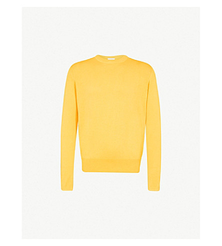SANDRO Crewneck silk and cotton-blend jumper (Yellow