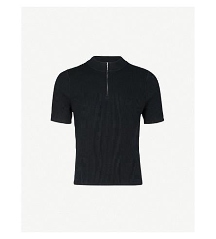 SANDRO Ribbed-knit cotton-jersey jumper (Black
