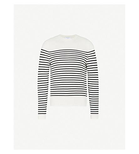 SANDRO Sailor-stripe cotton jumper (Ecru