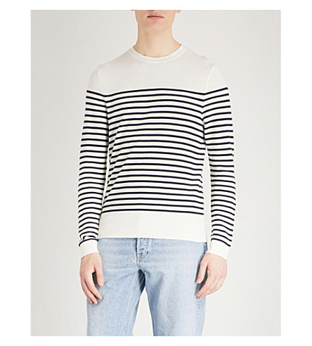 SANDRO Sailor-stripe cotton jumper (Ecru