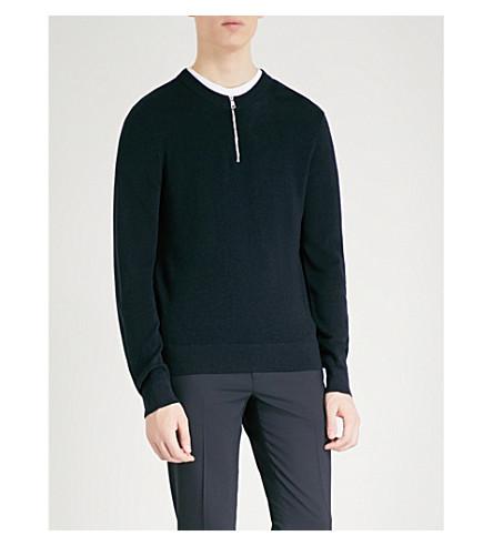 SANDRO Zip-detail knitted jumper (Marine