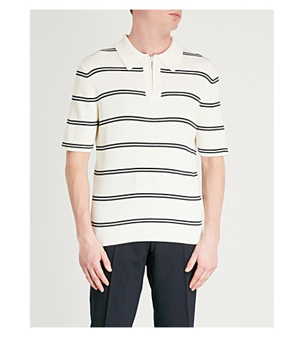 SANDRO Striped ribbed-knit wool and cotton-blend jumper (Ecru