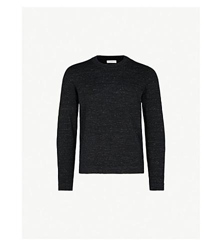 SANDRO Crewneck marled cotton-blend jumper (Anthracite