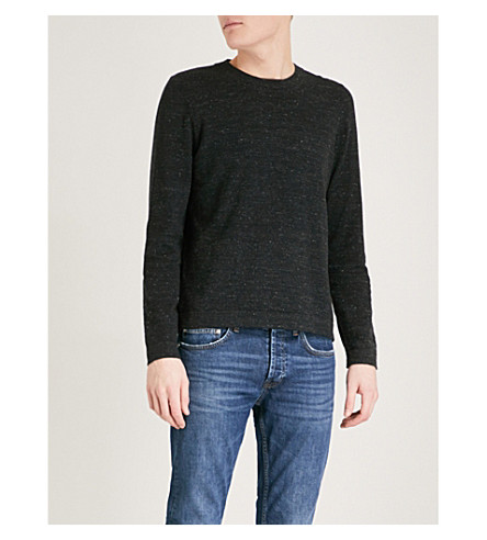 SANDRO Crewneck marled cotton-blend jumper (Anthracite