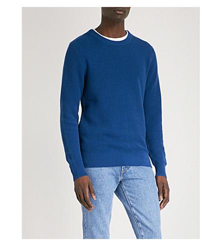 SANDRO Celest waffle-knit cotton jumper (Blue