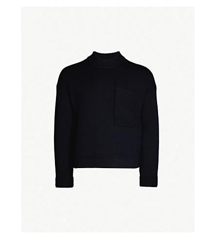 SANDRO 口袋细节羊毛混纺毛衣 (海洋