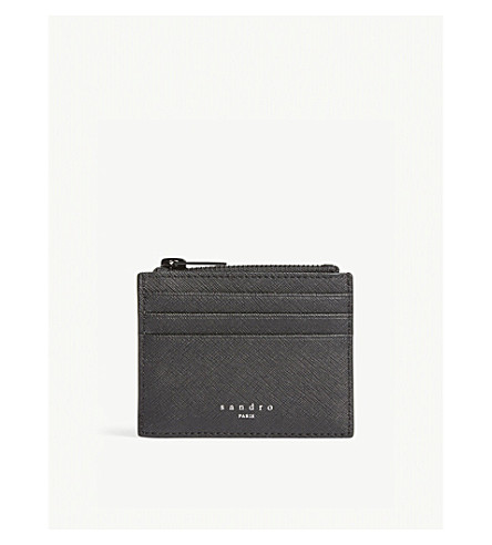 SANDRO Logo leather card holder (Black