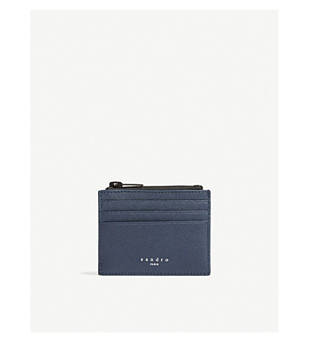 SANDRO Logo leather card holder (Marine