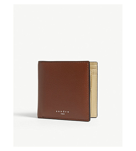 SANDRO Grained leather wallet (Cognac