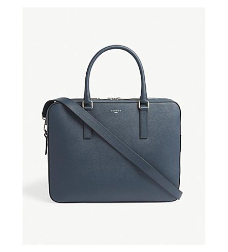 SANDRO Downtown Saffiano leather briefcase (Bleu+canard