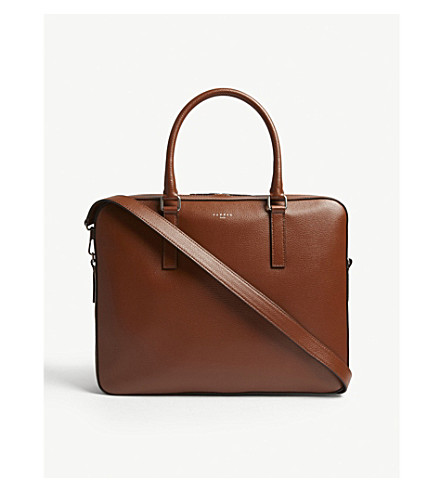 SANDRO Downtown pebbled leather briefcase (Cognac