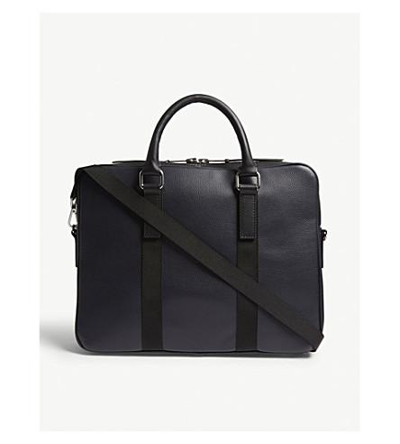SANDRO Pebbled leather briefcase (Marine