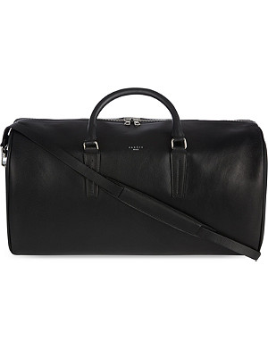 SANDRO Leather weekender bag