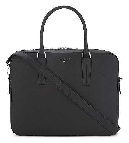 SANDRO Downtown leather briefcase (Black