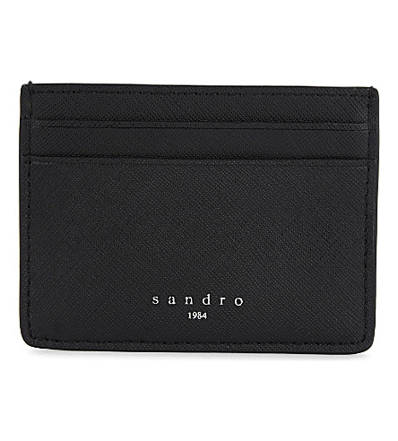 SANDRO Saffiano leather card holder (Black