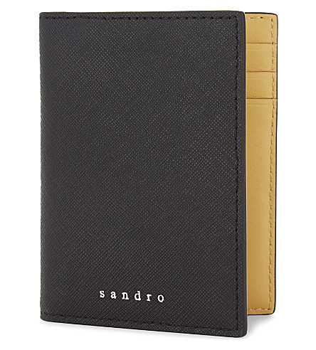 SANDRO H17 Saffiano leather billfold card holder (Black