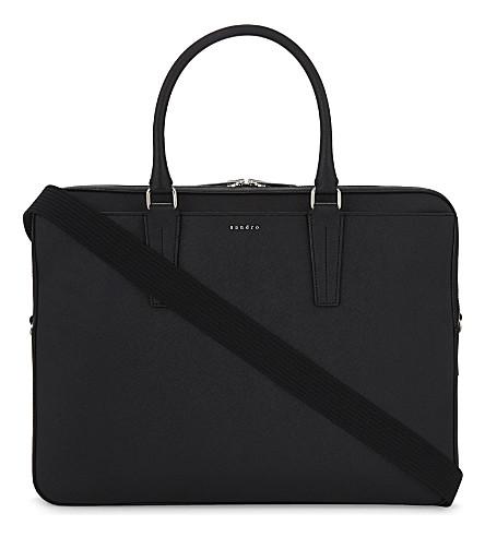 SANDRO Leather briefcase (Black