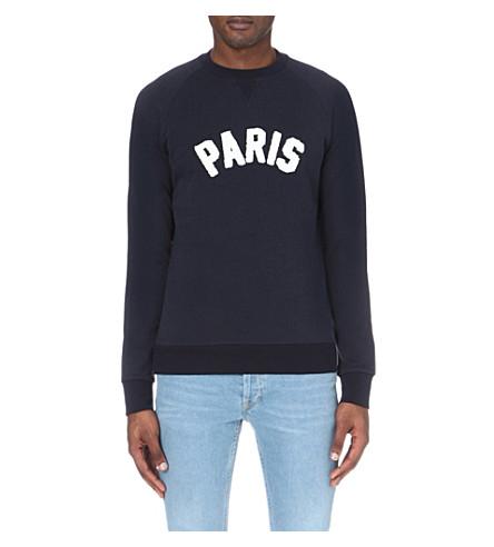 SANDRO Paris cotton-jersey sweatshirt (Marine