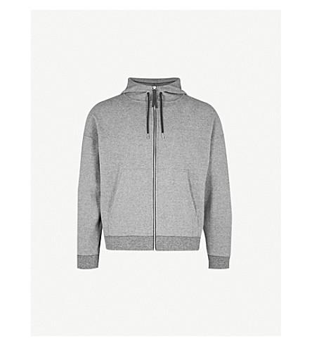 SANDRO Zip-up cotton-blend hoody (Heather+grey