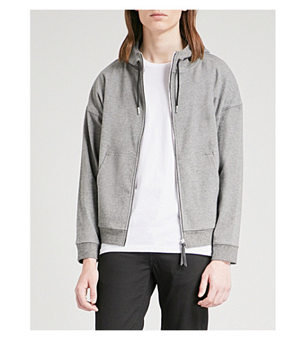 SANDRO Zip-up cotton-blend hoody (Heather+grey